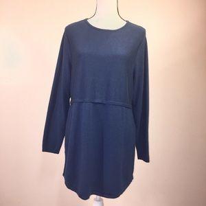 J. Jill Sweater Tunic GRACE Blue L Thin Knit